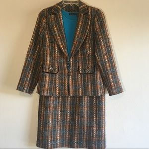 Vintage Plaid Tweed Blazer Suit Matching Set